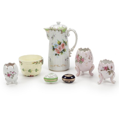 Ceramic Cracked Egg Vases and Hand-Painted Coffee Pot and Other Table Decor