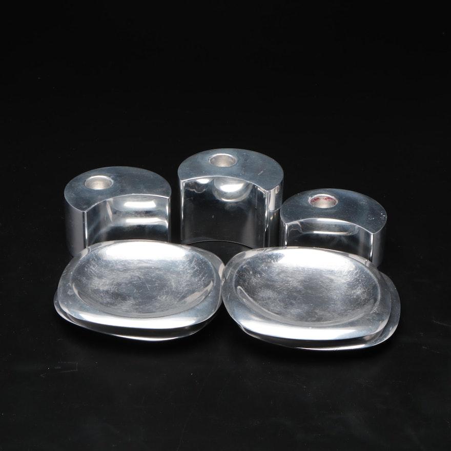 Nambé Aluminum Crescent Candle Holders and Coasters
