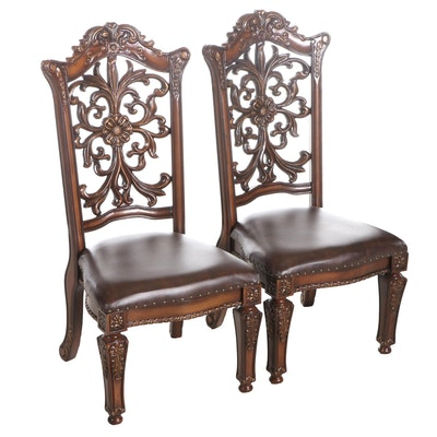 Pair of Contemporary Scrolled Back Dining Chairs