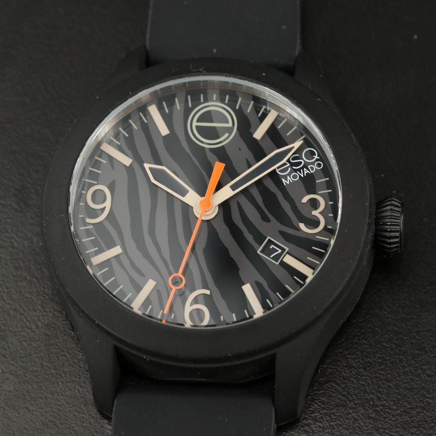 ESQ by Movado One Black Silicone Quartz Wristwatch