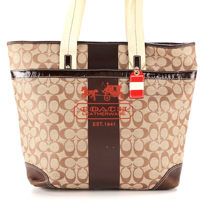 Coach Pilot Model Tote in Signature Coated Canvas with Leather Trim