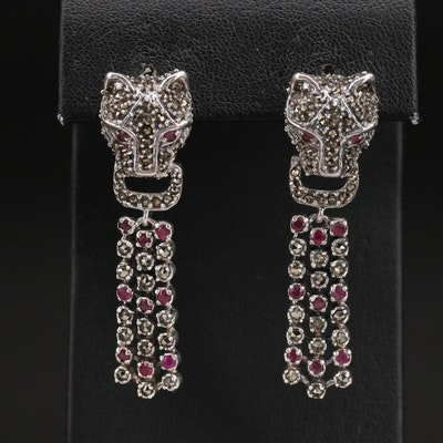 Sterling Marcasite and Ruby Feline Door Knocker Earrings