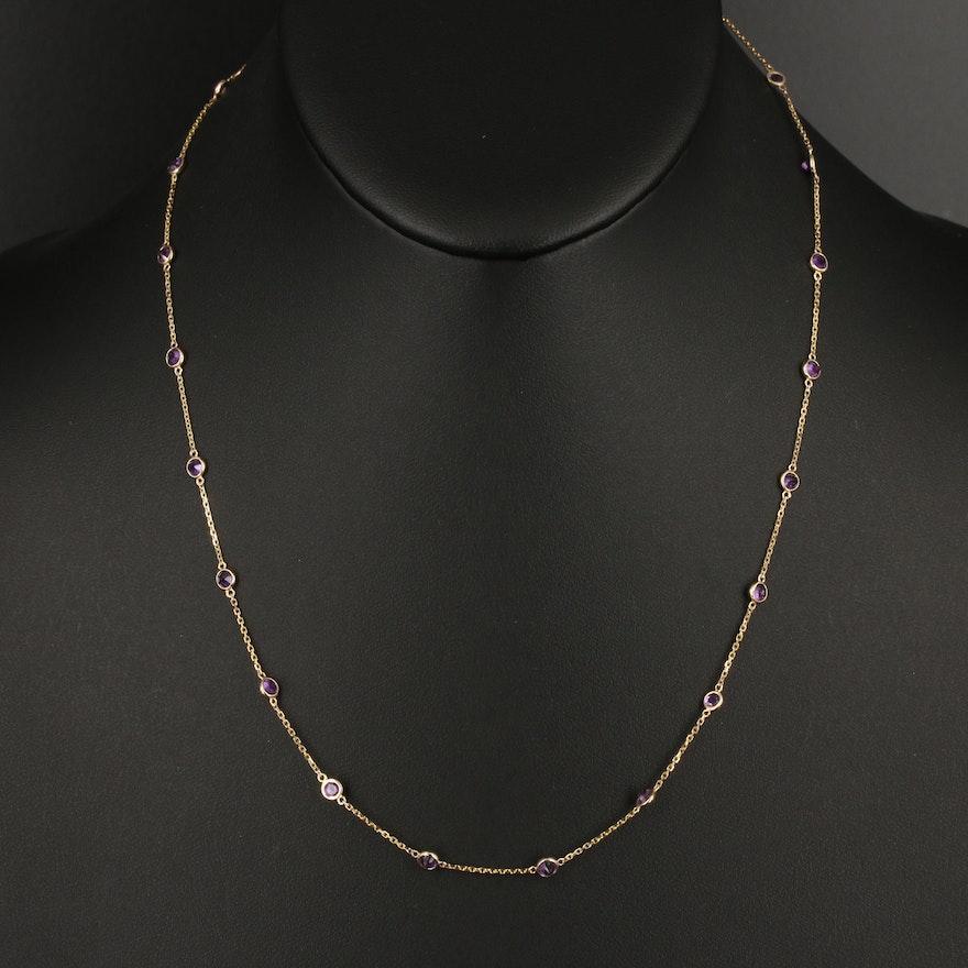 14K Amethyst Station Necklace