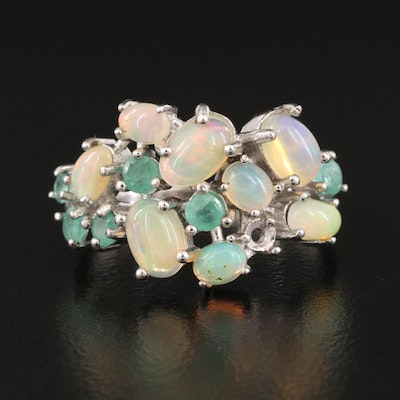 Sterling Silver Opal and Emerald Cluster Ring