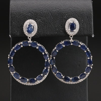 Sterling Sapphire and Cubic Zirconia Circle Eternity Earrings