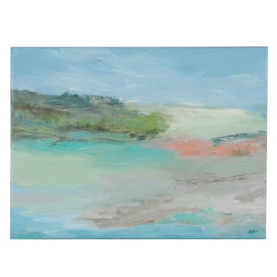 Lee Hafer Abstract Landscape Acrylic Painting, 21st Century