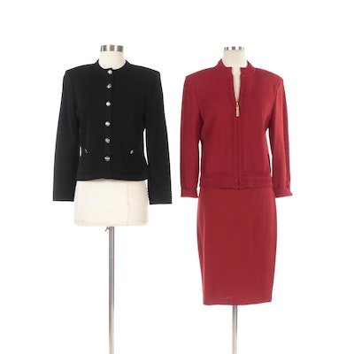 St. John Red Knit Skirt Suit and Black Button-Front Knit Jacket