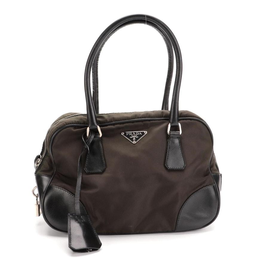 Prada Tessuto Boston Bag in Olive Green Nylon and Black Leather