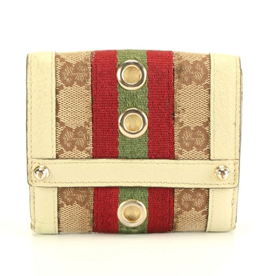 Gucci GG Canvas Wallet with Leather Trim and Web Stripe