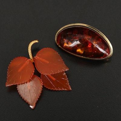 Vintage 8K Amber Cabochon Brooch and Leaf Brooch