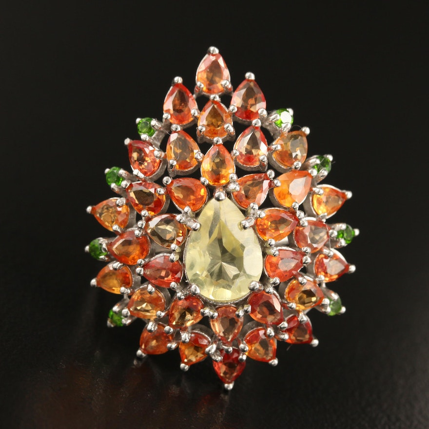 Sterling Citrine, Diopside and Sapphire Teardrop Cluster Ring