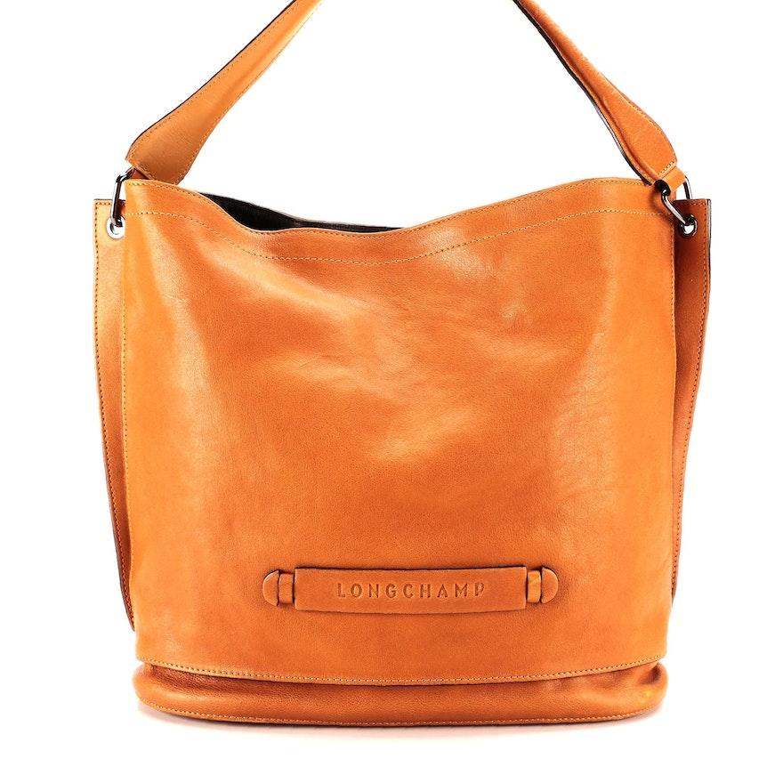 Longchamp Cognac Leather Shoulder Bag