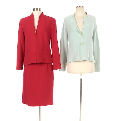 Eileen Fisher and Worth Petites Knit Jacket and Wool Skirt Suit