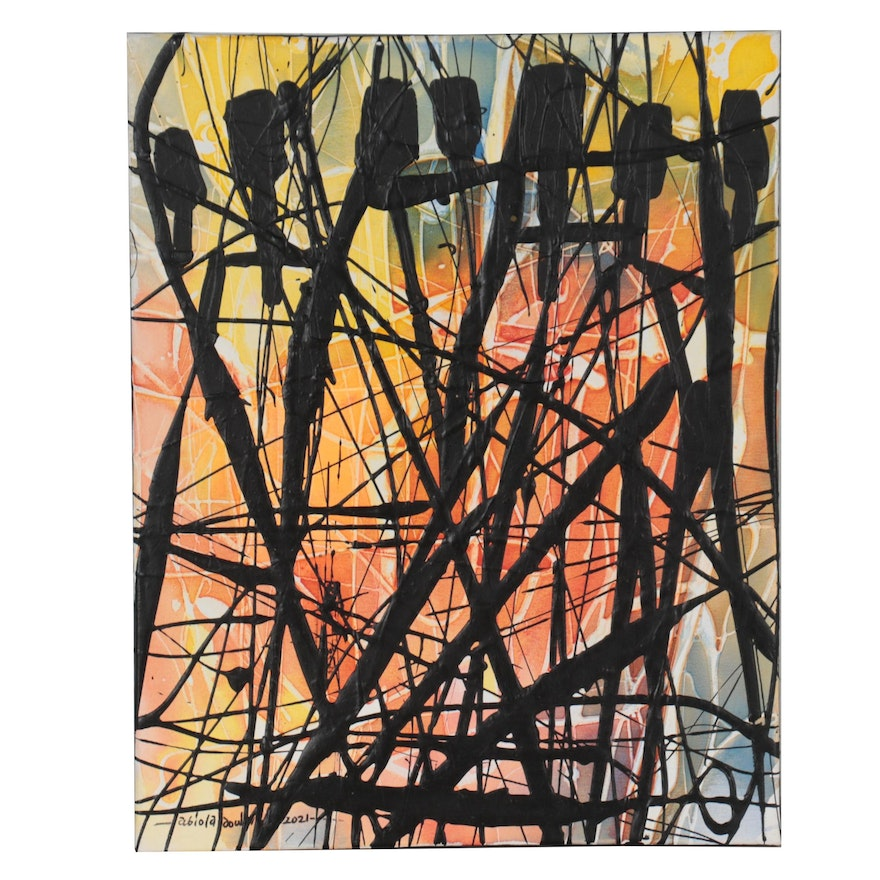 """Abiola Idowu Abstract Mixed Media Painting """"Line is a Movement of a Dot,"""" 2021"""