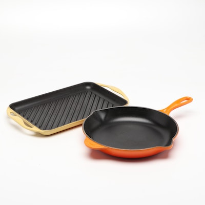 Le Creuset Enameled Cast Iron Skillet and Grill Pan