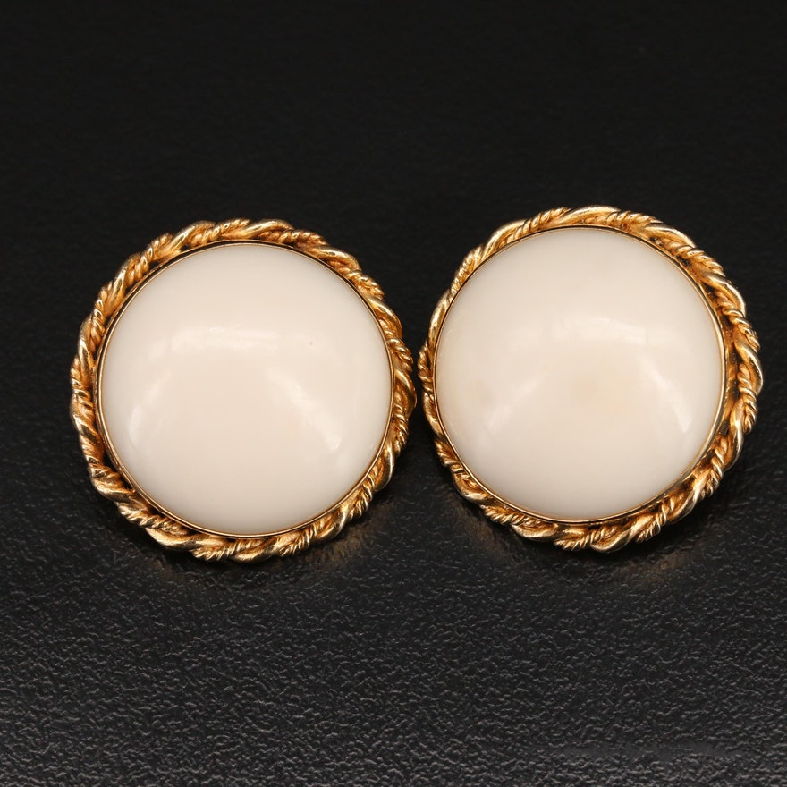 14K Coral Button Clip Earrings