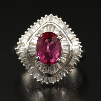 Platinum 1.41 CT Thai Ruby and 1.04 CTW Diamond Ballerina Ring