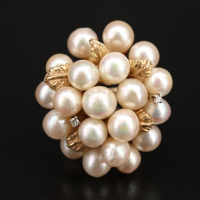Vintage 14K Pearl and Diamond Cluster Ring with Foliate Accents