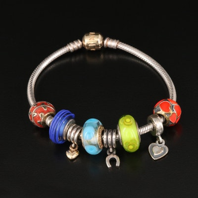 Pandora Sterling Charm Bracelet with 14K Clasp and Lampwork Glass Beads