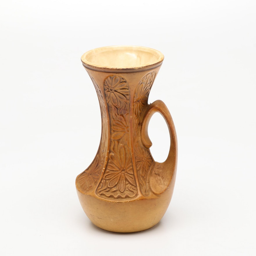 McCoy Pottery Ceramic Floral Motif Vase, Mid-20th Century