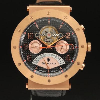 Bernoulli Triple Calendar Rose Gold Tone Automatic Wristwatch