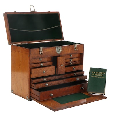 Oak Wood Machinist's Tool Box, Early to Mid 20th Century