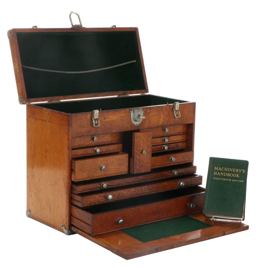 Gerstner Oak Wood Machinist's Tool Box, Early to Mid-20th Century