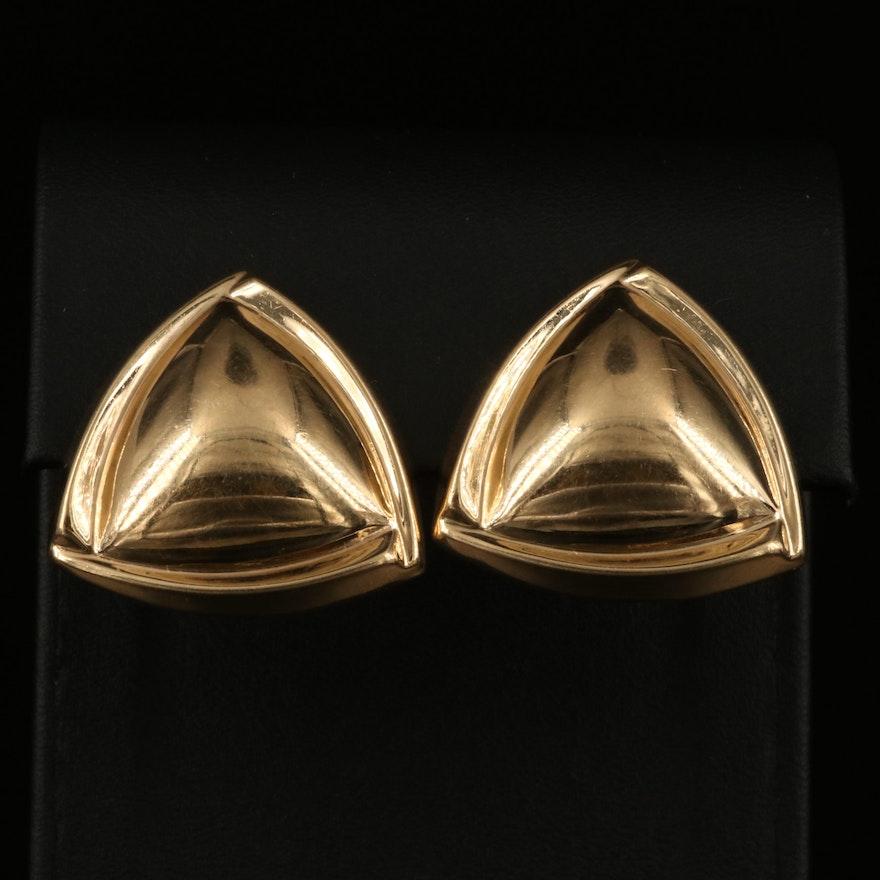 14K Puffed Triangular Button Earrings