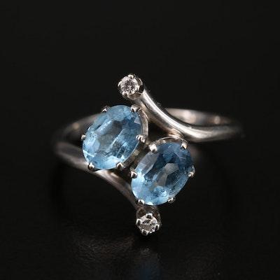 14K Aquamarine and Diamond Bypass Ring