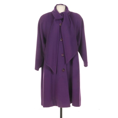 Christian Dior Purple Wool Button-Front Coat with Tie Neck