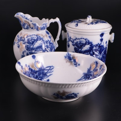 """English Sampson Hancock & Sons """"Harvest"""" Pitcher and Basin and Slop Pail"""