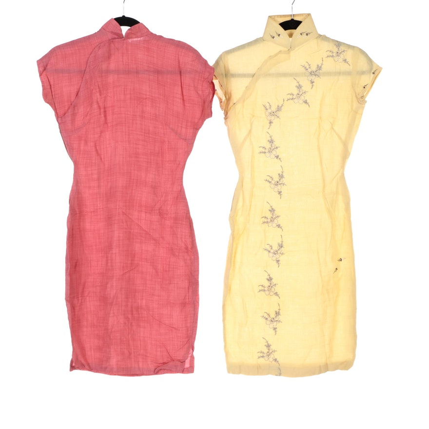 Pink Woven and Floral Embroidered Cheongsam Dresses