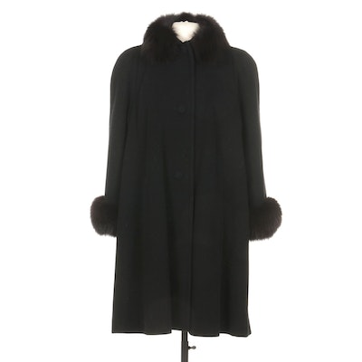 Caché Black Wool Button-Front Coat with Fox Fur