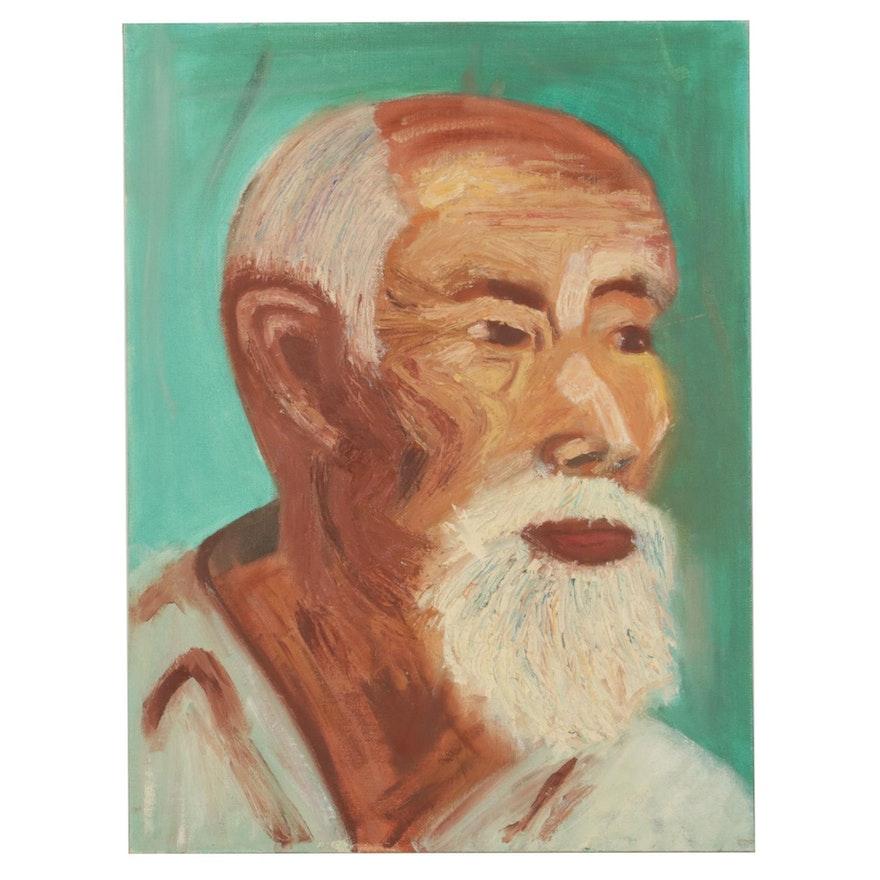 Elderly Man Portrait Oil Painting, Mid-Late 20th Century