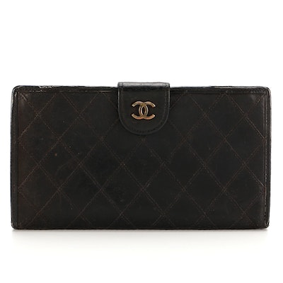 Chanel Continental Wallet in Black Diamond-Stitched Lambskin Leather