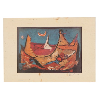 Abstract Offset Lithograph After Marcel Janco, Late 20th Century