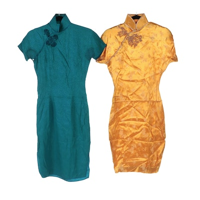 Floral Textured and Scenic Brocade Cheongsam Dresses