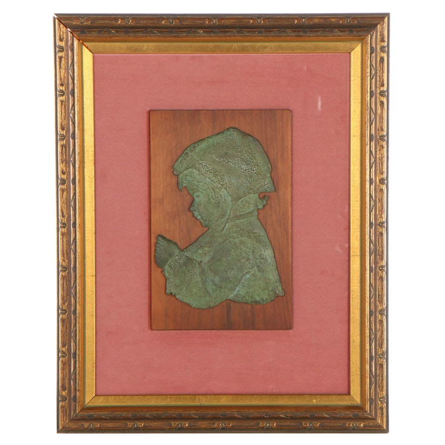 Bronze Relief Sculpture of Child Profile Portrait