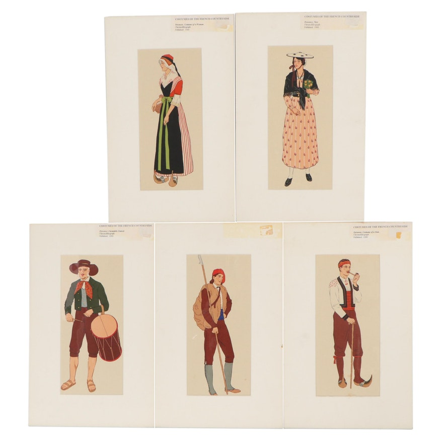 Lithographs of French Countryside Costumes