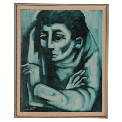 Ernest G. Cohen Modernist Style Oil Portrait, Mid to Late 20th Century