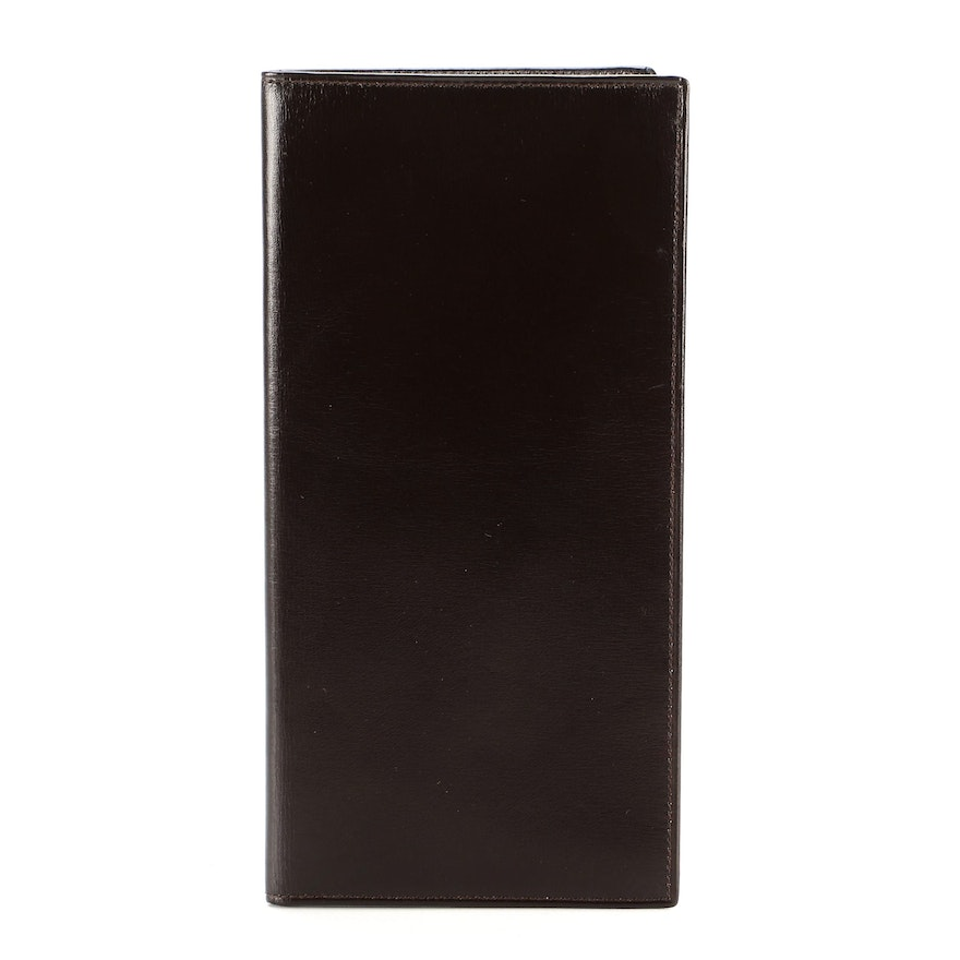 Gucci Checkbook Cover in Smooth Brown Leather