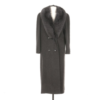 Alorna Wool Double-Breasted Full-Length Coat with Fox Fur Collar in Dark Grey