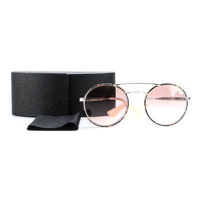 Prada SPR51S Round Browline Sunglasses in Pink and Tortoise with Case