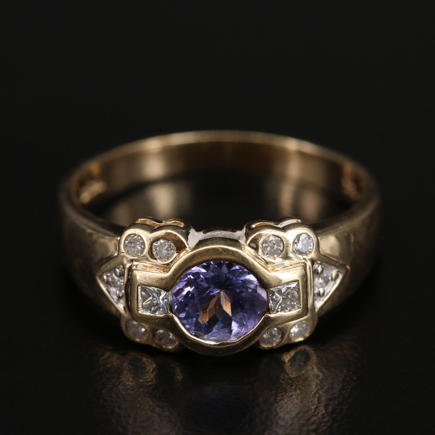 14K Bezel Set Tanzanite and Diamond Ring
