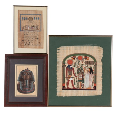 Egyptian Style Hand-Painted Serigraphs on Papyrus