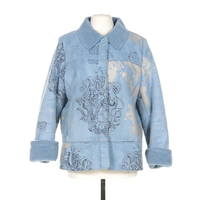 Méchant Button-Front Coat in Blue with Printed Design and Faux Shearling