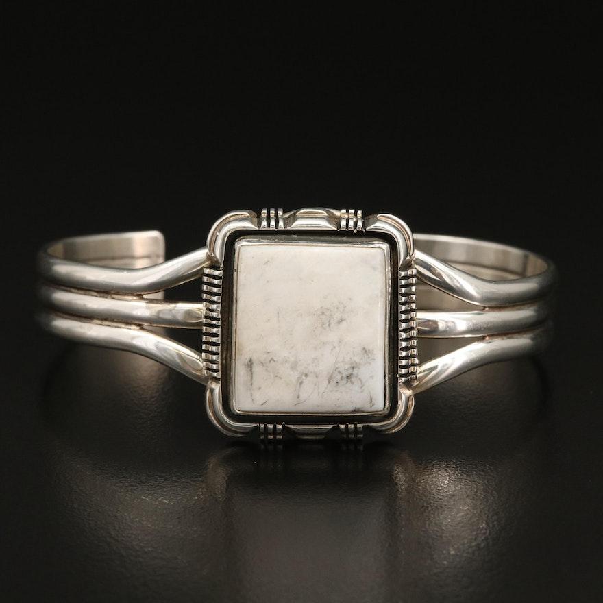 Leslie Yazzie Navajo Diné Sterling Silver Howlite Cuff