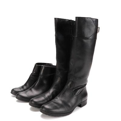Lauren Ralph Lauren Sigrid Riding Boots and Ecco Booties in Black Leather