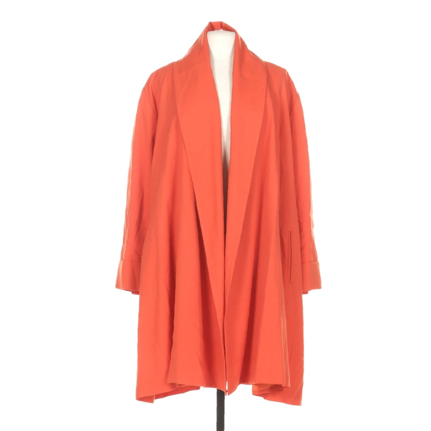 Searle Blatt Studio Orange Wool Open Front Coat