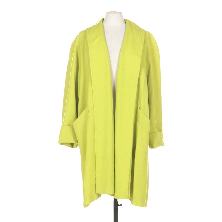 Steve by Searle Neon Green Wool Open Front Coat
